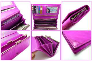 Genuine Eel skin Leather Wallet Purse Clutch Wallet 15 Colors