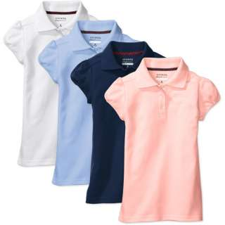 George   Girls Short Sleeve Polo Shirts, 4 Pack Girls