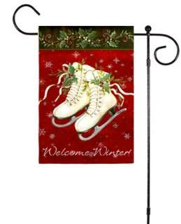 Welcome Winter Ice Skates Snowflakes Christmas Holly Small Garden Flag