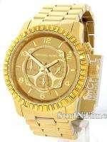 Michael Kors Mens Gold Tone Steel Bracelet Crystal Chronograph Watch