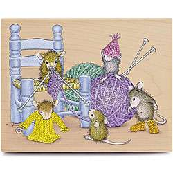 House Mouse Knit A Rific Wood Mounted Rubber Stamp