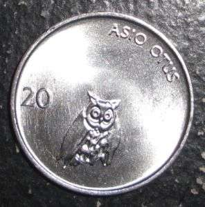 1992 Slovenia 20 stotinov Barn owl bird animal coin