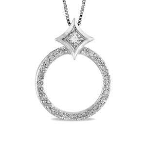 14K Womens White Gold Diamond Circle Pendant Necklace