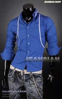 3mu Mens Trend Designer Double Line Slim Dress Shirts Tops Casual S M