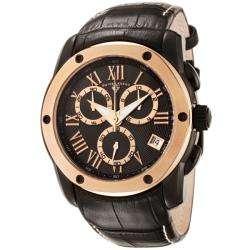Swiss Legend Mens Traveler Black Leather Chronograph Watch