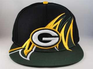 NFL GREEN BAY PACKERS RETRO SNAPBACK HAT CAP FLAT BILL GREEN UNDERBRIM