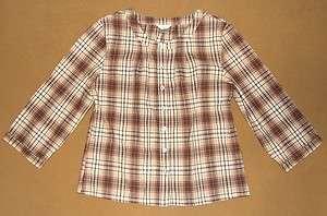 CHRISTOPHER & BANKS Womens Plaid Shirt Blouse Top EUC M