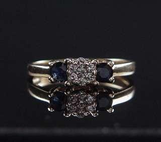 14K Yellow Gold Endless Diamond Sapphire Three Stone Ring 7.25