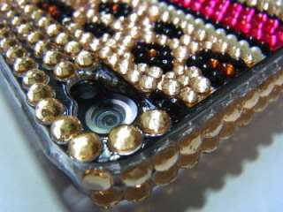 Bling Crystal Leopard Gold Pearl Hard Case Cover for iphone 4 4G 4S US