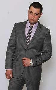 Modern Fit Men Suit 2 Button Grey Stripe Flat Front Pants Calvin Klein