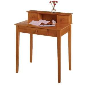 Vintage Style Honey Pine Solid Wood Hutch Writing Desk for Small