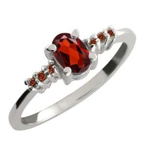 0.59 Ct Oval Red Garnet and Cognac Red Diamond Argentium