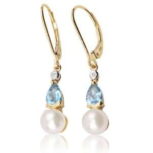 14k Yellow Gold 0.93 ctw Blue Topaz, Pearl and Diamond