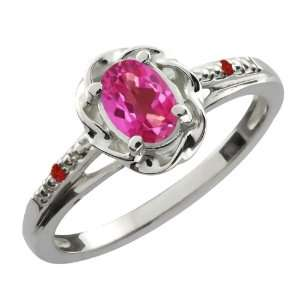 0.57 Ct Oval Pink Mystic Topaz Red Garnet Sterling Silver