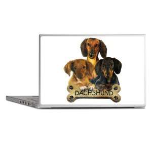 Laptop Notebook 11 12 Skin Cover Dachshund Trio with Bone
