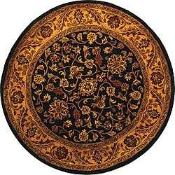 Handmade Taj Mahal Black/ Gold Wool Rug (6 Round)  Overstock