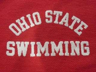 Champion Blue Bar Ohio State Swimming Team Polo Shirt Mens XL Red THIN