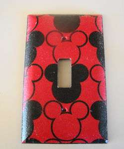Red and Black Mickey Mouse Light Switch Cover Plate