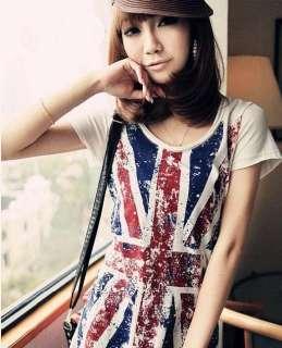 Women Slim Short Sleeve Personalized Print British Flag Tee Round Neck
