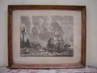 Great antique French seascape engraving # as/2258
