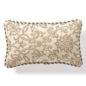 Outdoor Lumbar Pillow in Sunbrella Oakdale Frame Beige with Cording