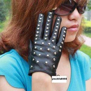 New ladys all studs kid leather gloves black