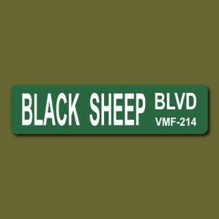 BLACK SHEEP BLVD 6x24 Metal Street Sign USMC VMF 214