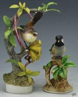 Worcester & Andrea Bird Porcelain Figurines Chickadee Wren