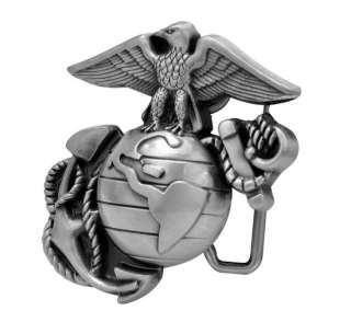 Classic Pewter Marine Corps Eagle Globe Belt Buckle Military
