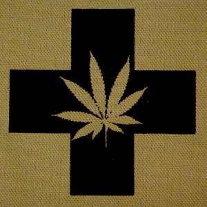 MMJ medical marijuana cross pot leaf ~TAN CANVAS PATCH~