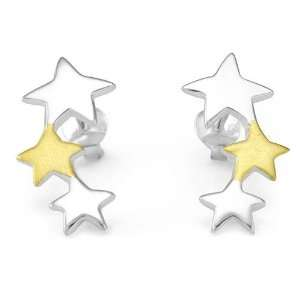 925 Sterling Silver 18K Gold Plated Tripple Stars Two Tone