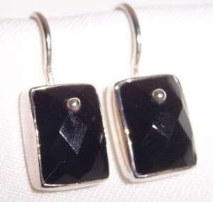 Silpada Sterling Silver Black Onyx Earrings Retired W1262 Boxed Free