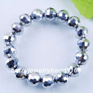Silver Crystal Faceted Round Beads Bracelet Stretch 7 K526