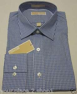 Michael Michael Kors Mens Blue & White Blue Stone Check Dress Shirt