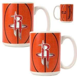 Houston Rockets NBA 2pc Ceramic Gameball Mug Set   Primary Logo