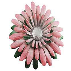 Pink and Green Flower Rhinestone Center Hair Clip