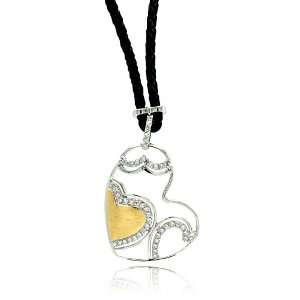Silver Necklaces Leather Cord 2 Toned Heart Sterling Silver Necklace