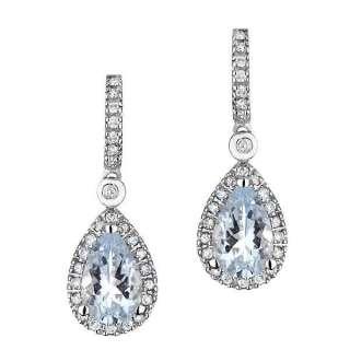 White Gold Aquamarine and Diamond Earrings 1/4ctw