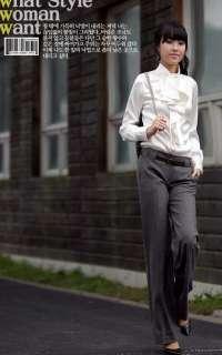 White Women Satin Lovely Ruffle Collar Shirt/Blouse/Top
