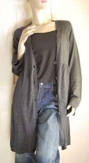 MAX STUDIO Gray Duster Cardigan Sweater Tunic Dress L