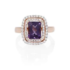 Diamond and Purple Amethyst 18k Rose Gold Ring Jewelry