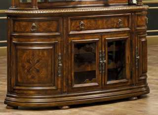 Antiqued Walnut Jacobean China Cabinet |