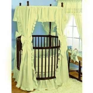Baby Doll Bedding Carnation Eyelet Round Crib Bedding Set, EcruBaby