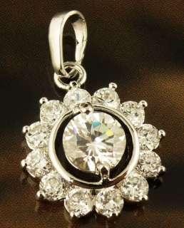 Wonderful Adorable White Topaz Gems 14k Real White Gold Filled Pendant