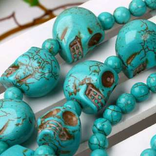 Green Howlite Turquoise Skull Gemstone Beads Necklace