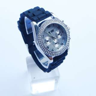 Fashion Silicone Crystal Stone Quartz Ladies/Women/Girl Jelly Wrist