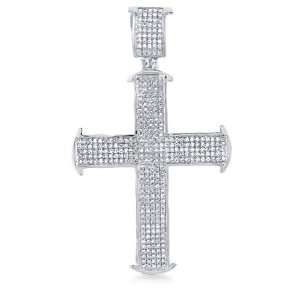 10k White Gold Diamond Micro Pave Set Cross Shape Round Cut Diamond