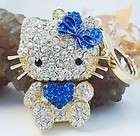 Heart Blue Fashion Hello Kitty Cat Keyring Purse Charm Swarovski