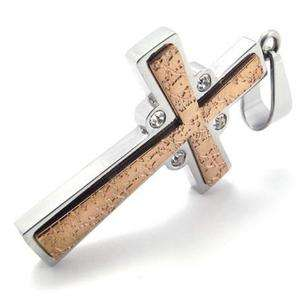 Mens Rose Gold Stainless Steel Cross Pendant Necklace