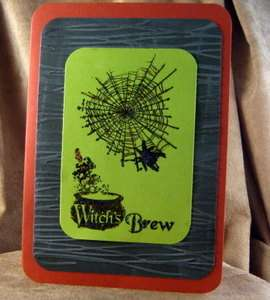Handmade Greeting Card   Halloween   Witchs Brew Note Card